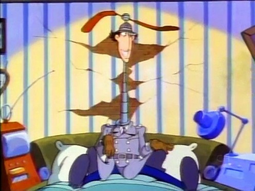 Inspector Gadget prepares for duty in the episode Sleeping Gas.