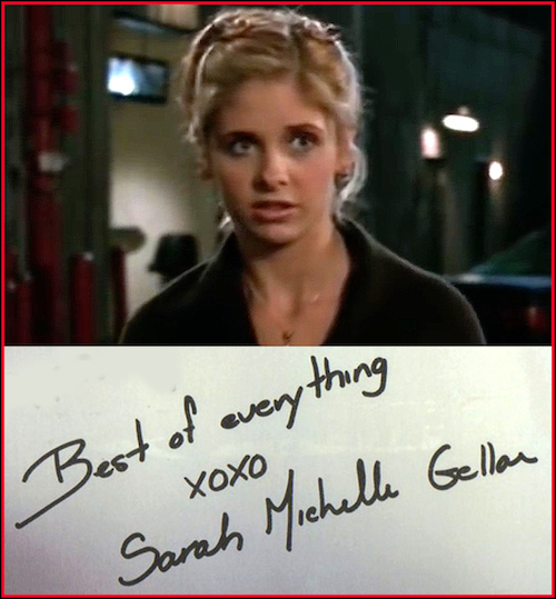 "Sarah Michelle Gellar helped launch the WB with her ""Buffy the Vampire Slayer"" TV series.  The ""writing"" is not real, but simply pre-printed onto a photo.  Notice there is no personalized inscription, i.e. ""To John,"" or ""For Heather."""