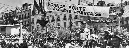 Photo of a rally following a massacre which took place in 1955, during the Algerian War for Independence.