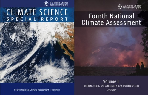 Screenshots of covers for Vol. 1 and Vol. 2 Fourth National Climate Assessment