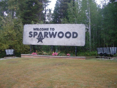Welcome sign for Sparwood, British Columbia