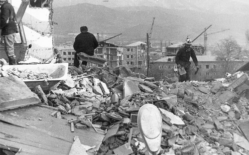 Ruins in Spitak after the 1988 earthquake.