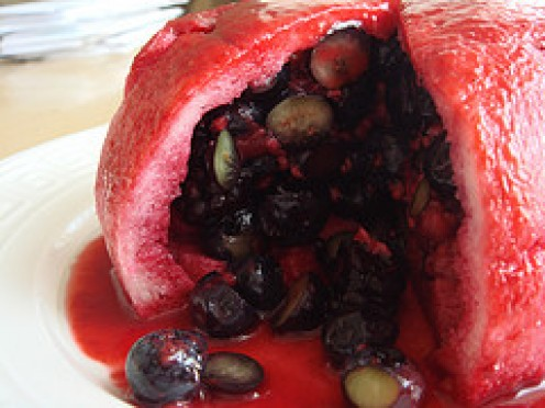 Summer Pudding showing the luscious Fruity Contents