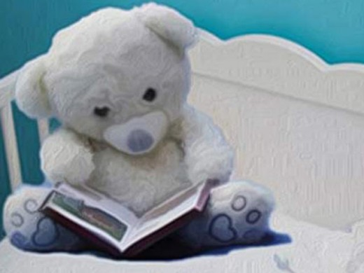 Teddy Bear reading at bedtime