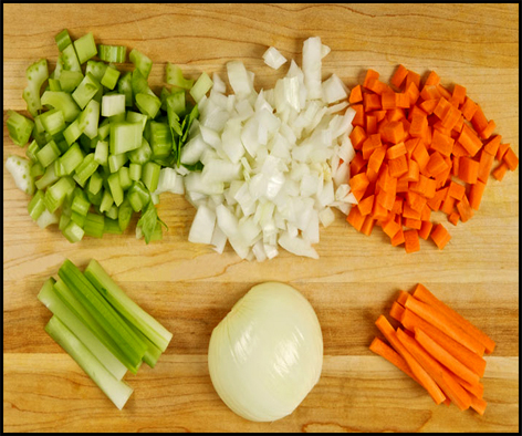 Mirepoix is the foundation of flavorful pot pie filling. Other desired vegetables can be added to your liking.