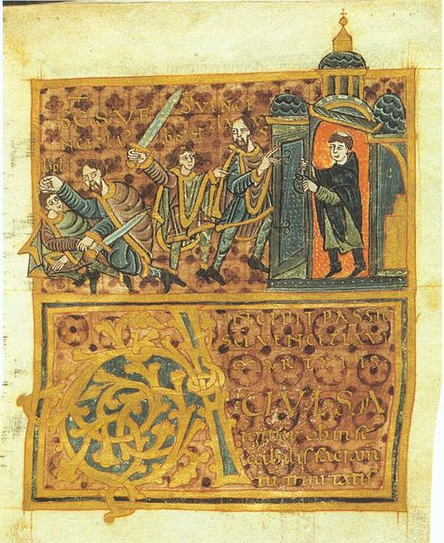 This tenth century image depicts the killing of the Duke of Bohemia by three acquaintances of his brother. P.S. This may be most accurate depiction of the real-life Wenceslas, as it was done just a few years after his untimely death.