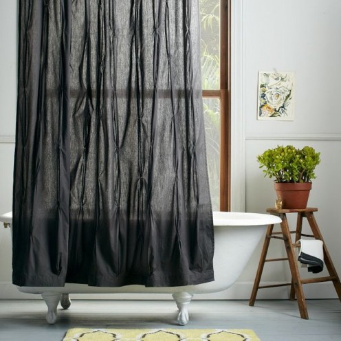 Go with PEVA, recycled polyester or organic fiber shower curtains.