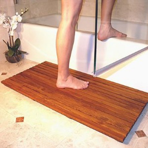 Say no to synthetic bath mats and rugs. Teak mats are beautiful and sustainable.