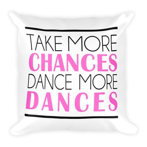 """Take More Chances, Take More Dances"" throw pillow from Salsa Vida"