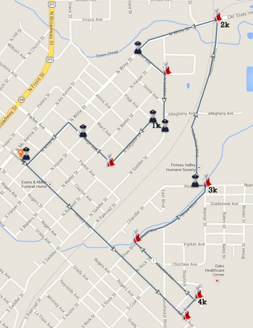 Overview event map for a 5k Run showing locations of police officer and volunteer stations.  This was coordinated with the police, fire, and EMS crews in town.