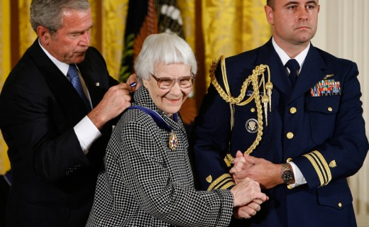 Harper Lee receives the 2007 Presidential Medal of Freedom from President George W Bush