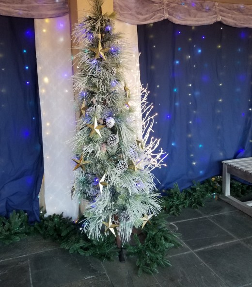 A sparkly blue tree and background along the hall at Tower Hill Botanical Garden in Boylston, MA