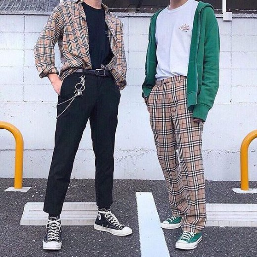 These are kind of vintage inspo fits, with those vintage looking Burberry pieces and wider, more relaxed fits