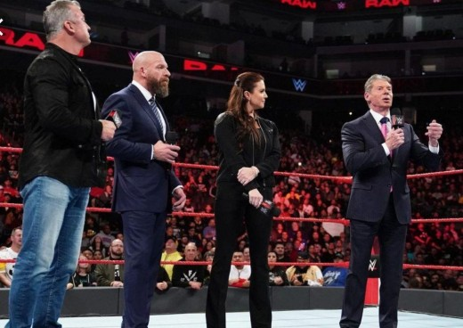 The McMahon Family- Shane, Triple H, Stephanie and CEO Vince.