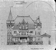 "Moon's design for the R.E. Olds mansion, showing ""Chateauesque"" and European influences"