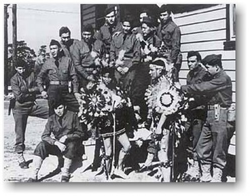 4th Signal Company, WWII. The Code talkers of many Native American Nations helped the USA and the Allies to win the war, using their own languages that the Axis Powers could not translate.