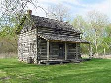 Darius Moon's early log cabin home, now at Woldumar Nature Center, Lansing.  Here he was raised with eight other siblings