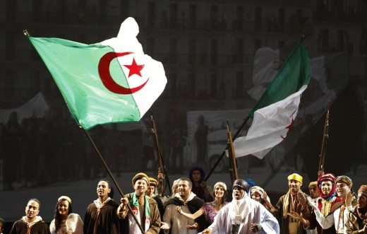 """Algerian actors reenact the Algerian war against France during the 2012 celebration of the 50th anniversary of the country's independence."""