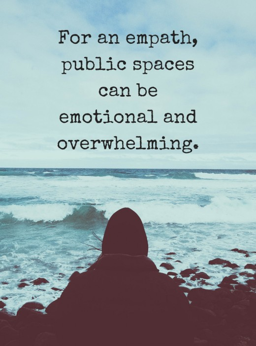 How does an empath feel in public spaces?
