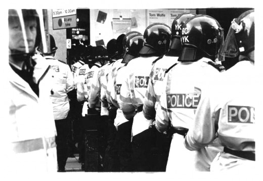Anti-riot security forces at the ready.