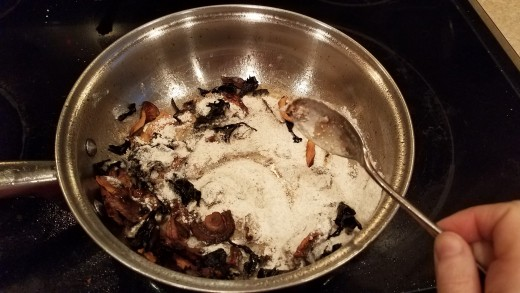 Then dump in your flour and mix, so everything is evenly coated.
