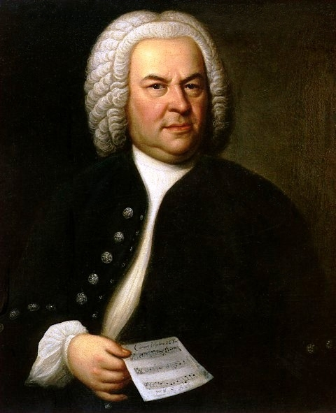 Portrait of Bach by Elias Gottlob Haussmann, painted when he was 61. It hangs in the Rathaus, Leipzig.
