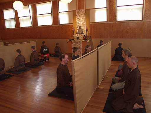 "Zazen meditation may be practised alone at home or with a group in a dedicated meditation hall, known as a ""zendo"""