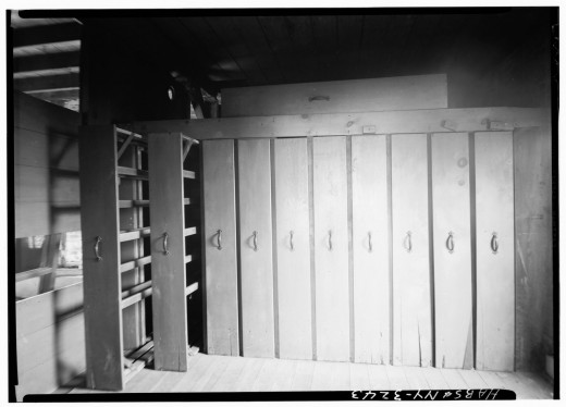 Laundry drying drawers, photographed in 1939.