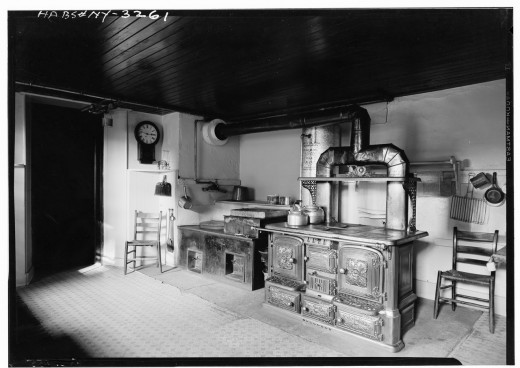 A kitchen in one of the family dwellings.