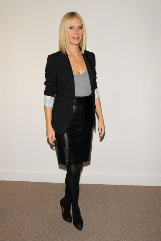 Gwyneth Paltrow in a black leather pencil skirt
