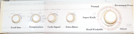 Typical washing machine dial options.