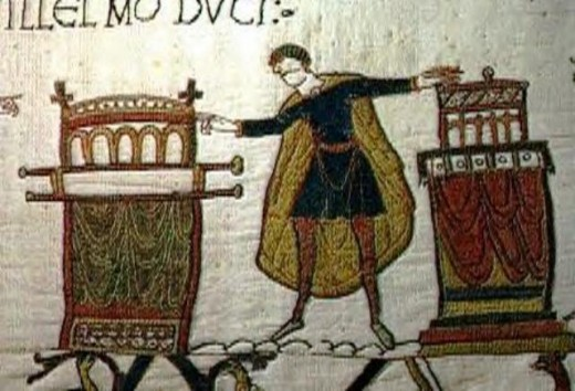 Harold, the oath and the onset of his problems. Although his clerical friends assured him such an oath held no legal weight, this episode would haunt him to his dying day. The picture tells the Bayeux (Odo's) version of the story