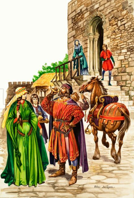 """My lords and ladies..."""" Enjoying the fruits of success, although ostentation was really 'the Anglo-Saxon game'. The Normans had simpler tastes"""