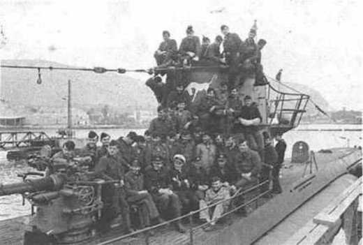 Type VIIC German U-559 with her crew. She was so badly damaged in the action by HMS 'Petard' in the Mediterranean, she sank not long after First Lt. Fasson boarded to locate her Enigma coding machine and books