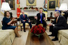 """President Trump discussing """"The Wall"""" with speaker of the house Nancy Pelosi."""