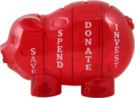 Kids modern Money Pig Piggy Bank has four chambers for save, spend, donate, and invest