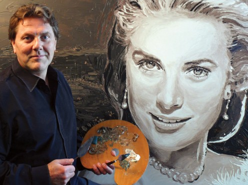 Artist Peter Engels in front of his Vintage Portrait of Grace Kelly, the painting was bought by Prince Albert II of Monaco