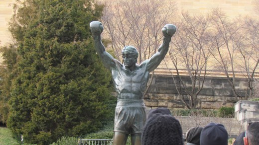 The famous Rocky statute, located on the right side of the museum.  Visitors still gather around the figure for photos.