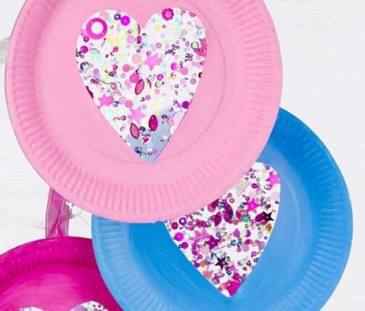 Paper Plate Heart Suncatchers