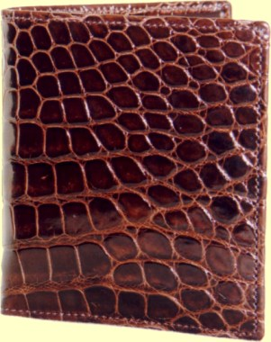 An expensive mens leather wallet can be made from fine crocodile hide