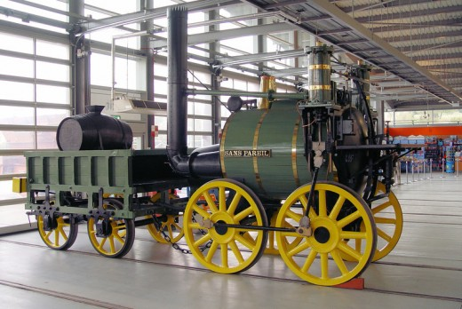 Timothy Hackworth's locomotive, 'Sans Pareil' - without equal - replica stands inside, near the entrance to the Shildon extension of the National Railway Museum. The original is along the tracks at the Hackworth Museum