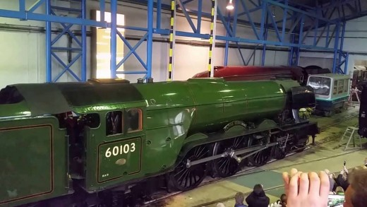 In the workshop at the NRM, York, 'Flying Scotsman' stands resplendent in her British Railways lined Brunswick Green livery prior to appearing on the national and preserved railway systems