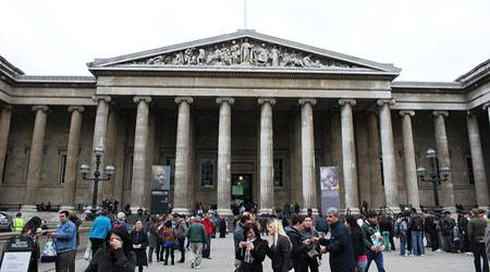 British Museum, the main entrance on Great Russell Street - there is a rear entrance just off Russell Square that's a lot less used, less crowded, and easier to enter by