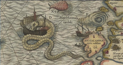 What a different view indeed, this map overrun by the monsters of the sea, from our world where everything has been mapped, charted, understood!