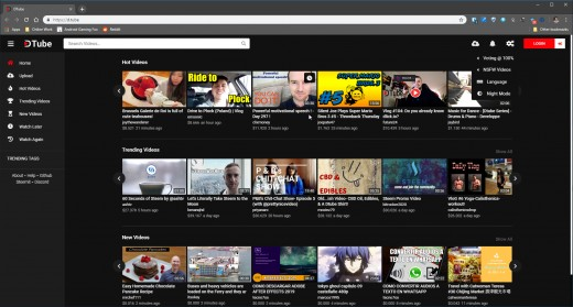 The Dtube homepage.
