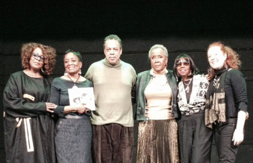 (L to R)  P.S. 21 Parent Coordinator Sharona Casterlow, Principal Joyce Coleman, trumpeter Duke Jones, Nana Camille Yarbrough, Sandra Trim-DaCosta (The BulLion Foundation) and Singer/Songwriter, Kirsten Thien