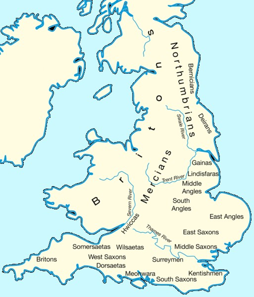 The early kingdoms in what would become 'England' by the end of the 10th century