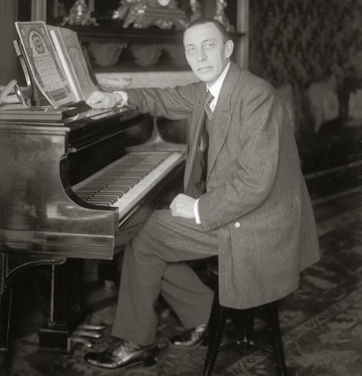 Rachmaninov seated at a Steinway piano, probably between 1910 and 1920.