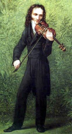 Oil on wood painting of Paganini, c1830 Staatliche Kunstsammlungen Dresdenhouse.