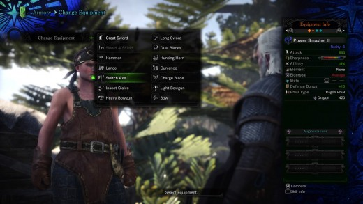You can easily switch between Monster Hunter World 14 weapons.